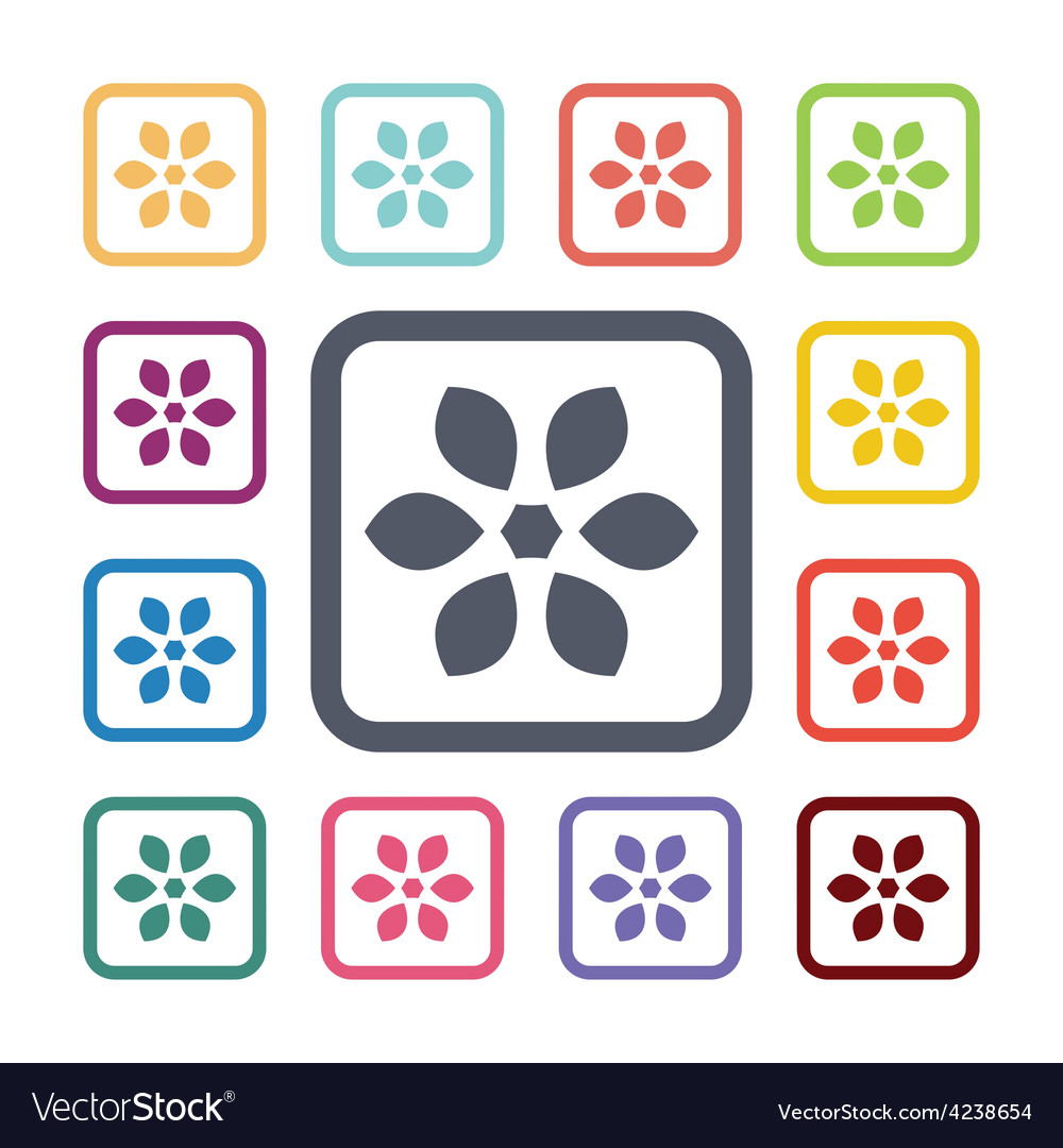 Flower flat icons set vector   Price: 1 Credit (USD $1)