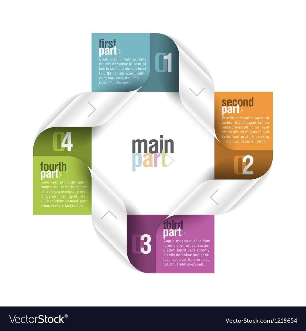 Four parts design template vector | Price: 1 Credit (USD $1)
