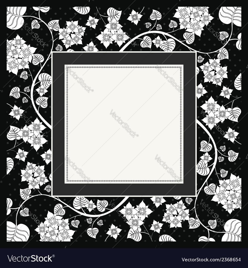 Frame of flower on black background vector | Price: 1 Credit (USD $1)