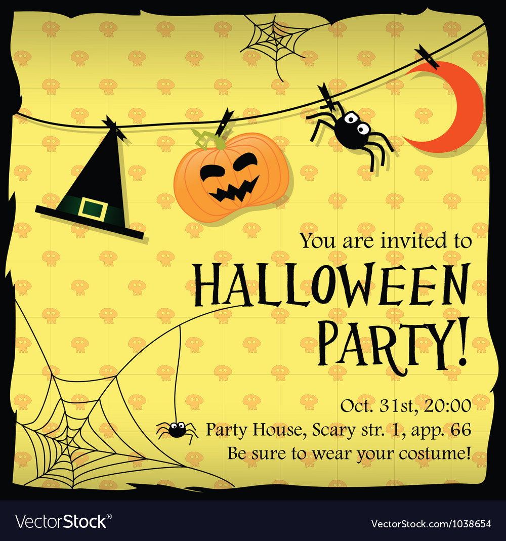 Halloween party invitation card with moon spider vector | Price: 1 Credit (USD $1)