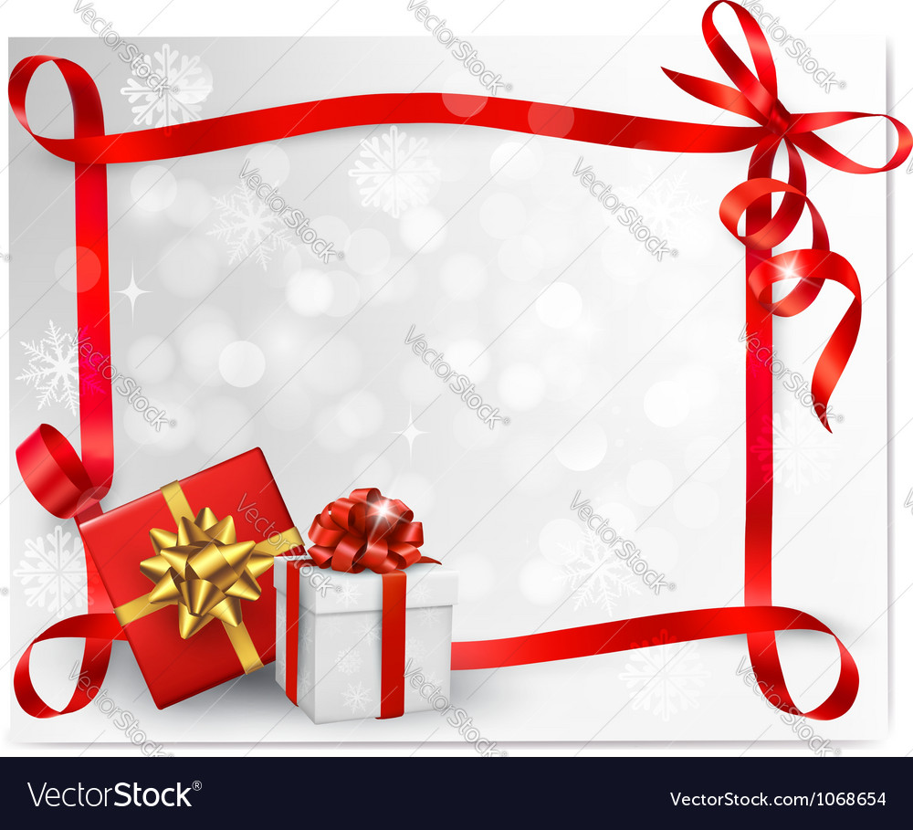 Holiday background with red gift bow and gift box vector   Price: 1 Credit (USD $1)