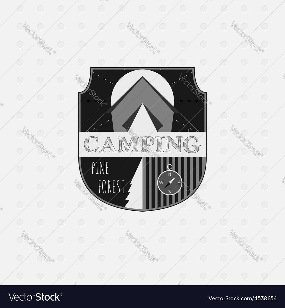 Outdoor adventure badge and forest logo emblem vector | Price: 1 Credit (USD $1)