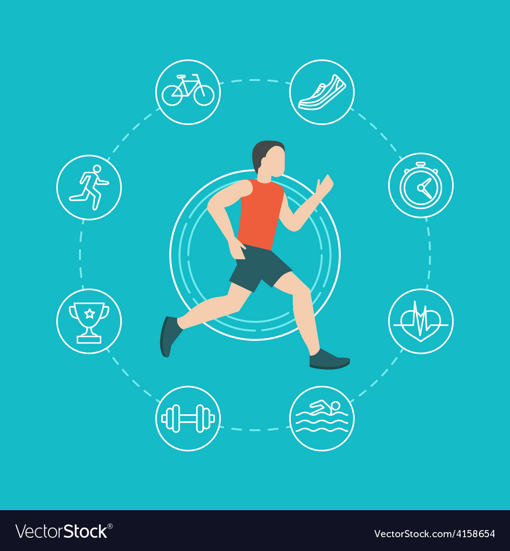 Running and jogging infographics concept vector | Price: 1 Credit (USD $1)