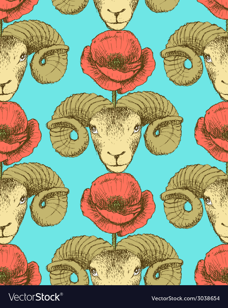 Sketch ram and poppy flower vector | Price: 1 Credit (USD $1)