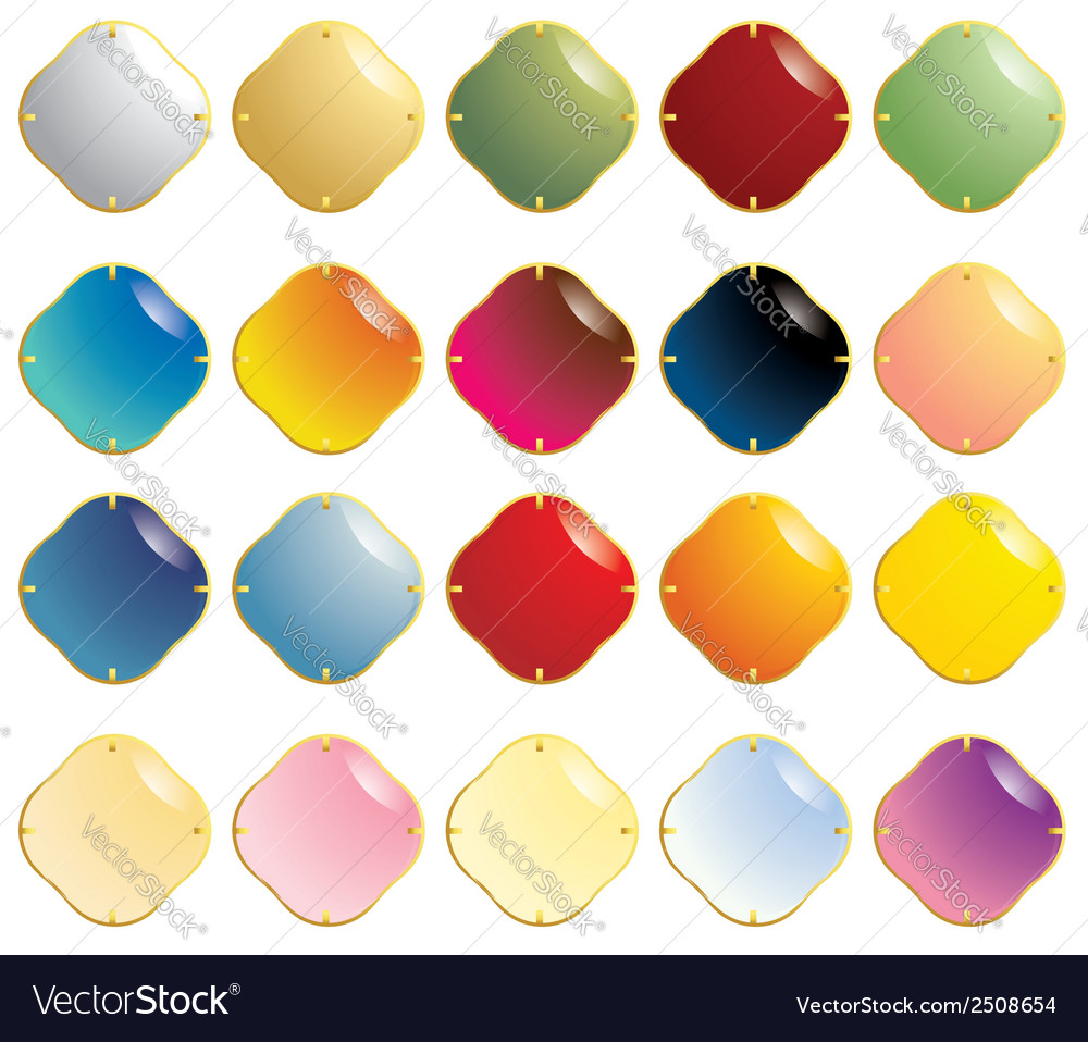 Smooth gemstones with gold fastener vector | Price: 1 Credit (USD $1)