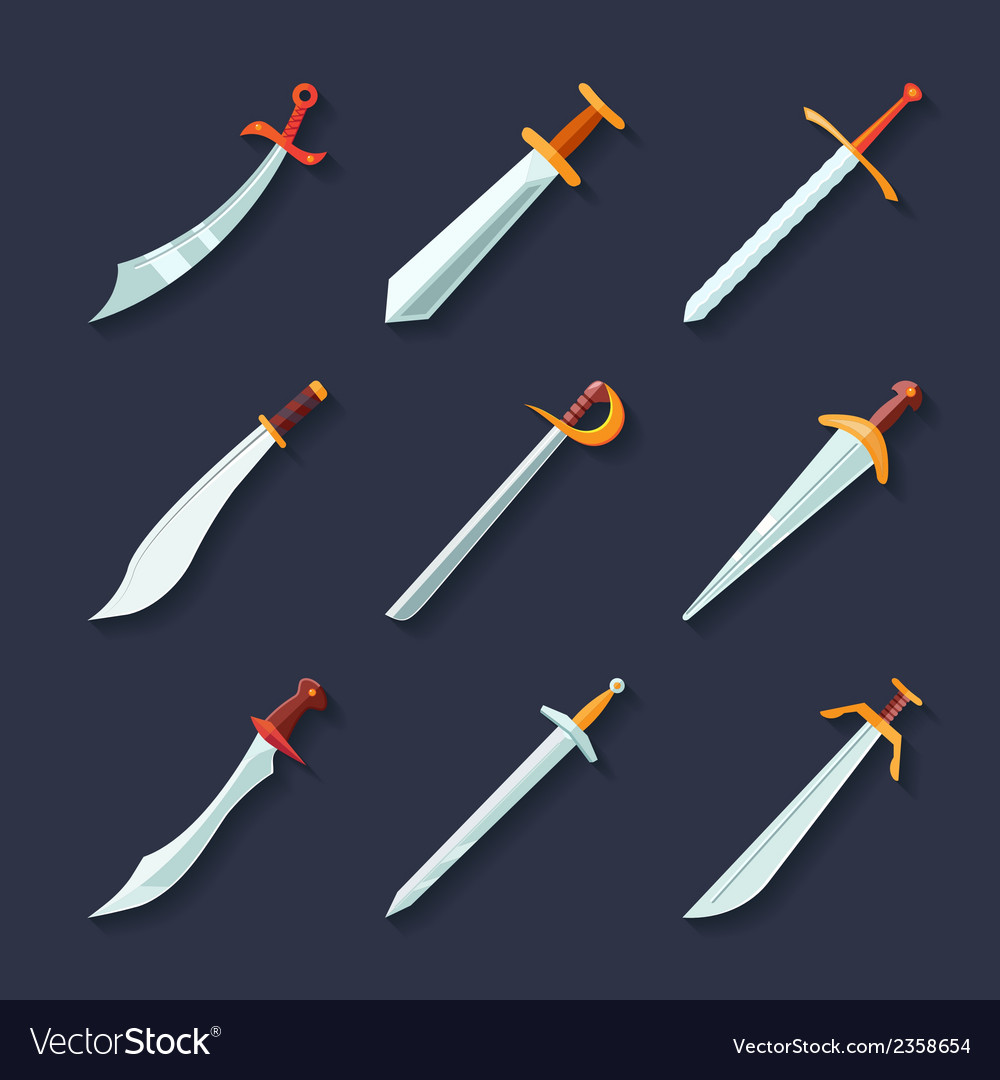 Sword icon flat vector | Price: 1 Credit (USD $1)