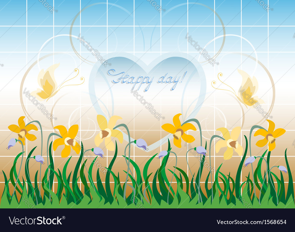 Wildflowers and the frame of heart vector