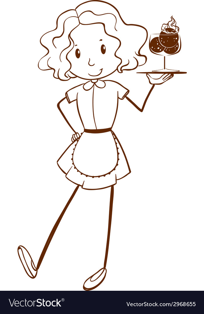 A sketch of a lady server vector | Price: 1 Credit (USD $1)