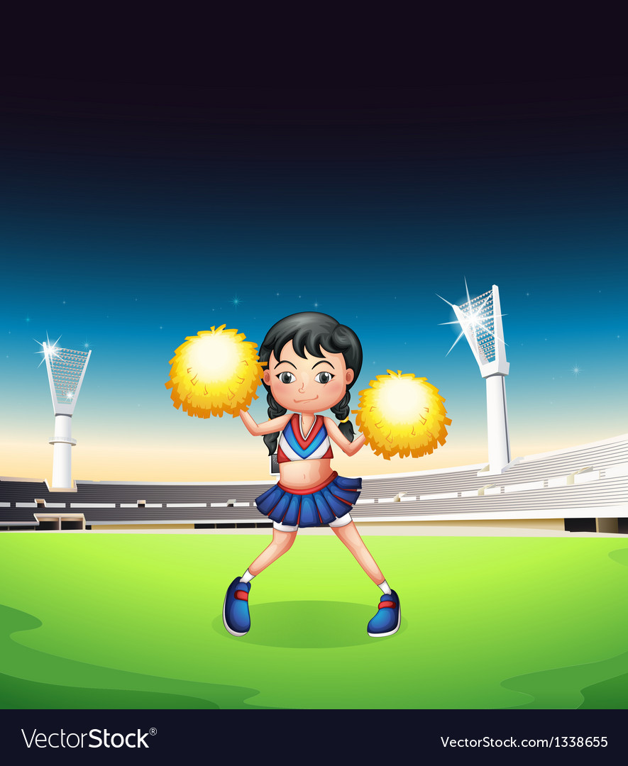 A young woman dancing at the soccer field vector | Price: 1 Credit (USD $1)