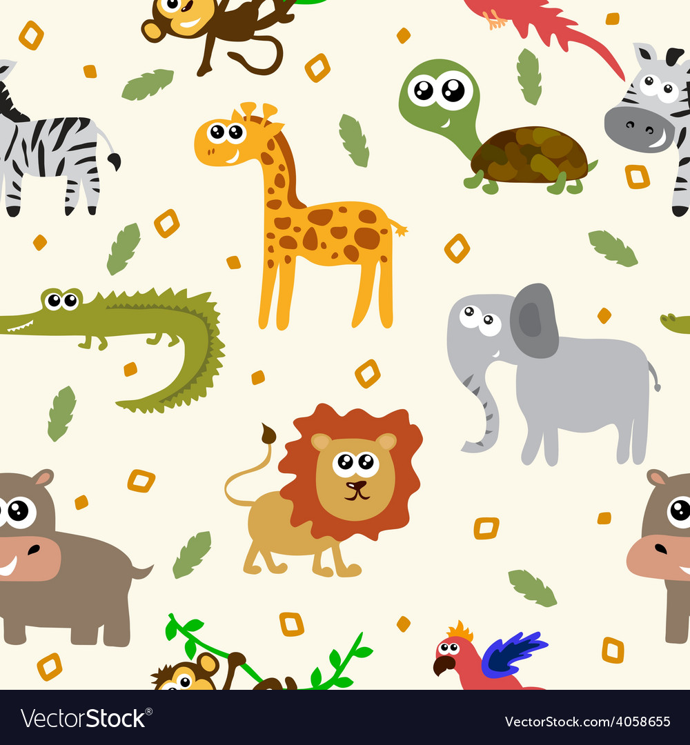 African animals seamless pattern cartoon childish vector | Price: 1 Credit (USD $1)