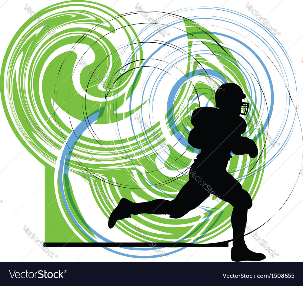American football player in action vector | Price: 1 Credit (USD $1)