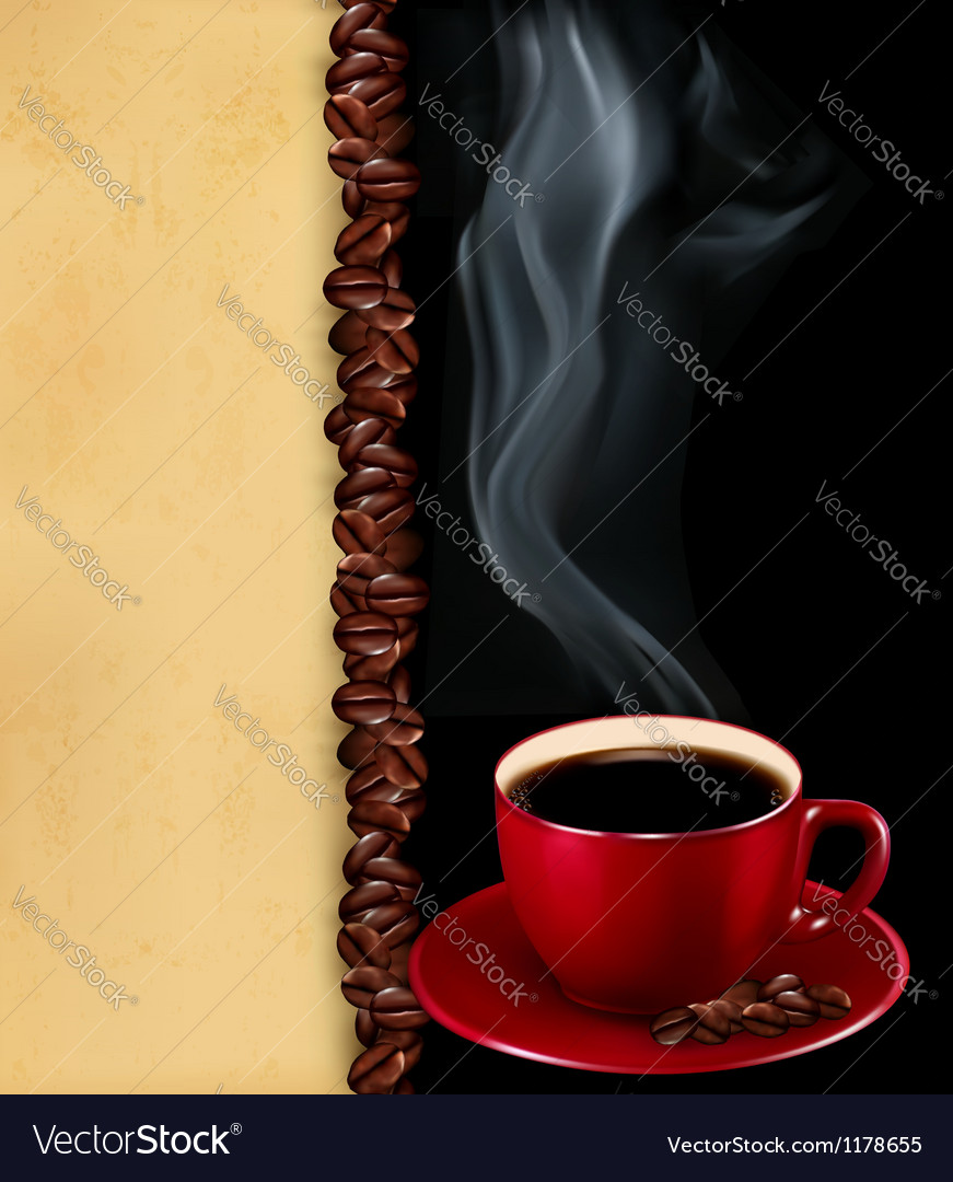 Background with cup of coffee and old paper vector | Price: 3 Credit (USD $3)