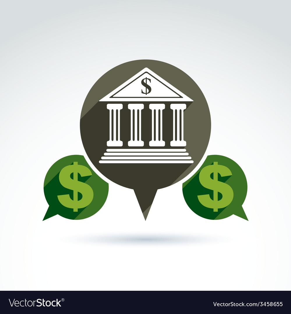 Banking symbol financial institution icon speech vector | Price: 1 Credit (USD $1)