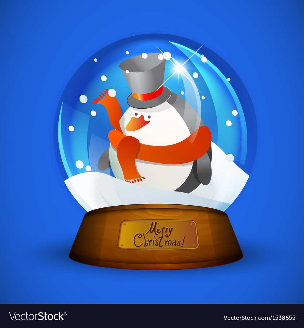 Christmas snow globe with penguin vector | Price: 1 Credit (USD $1)