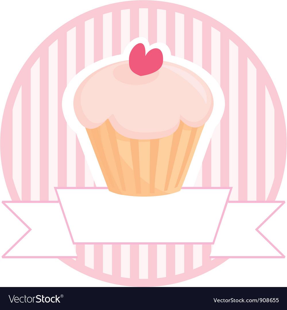 Cupcake button logo or wedding invitation card vector | Price: 1 Credit (USD $1)