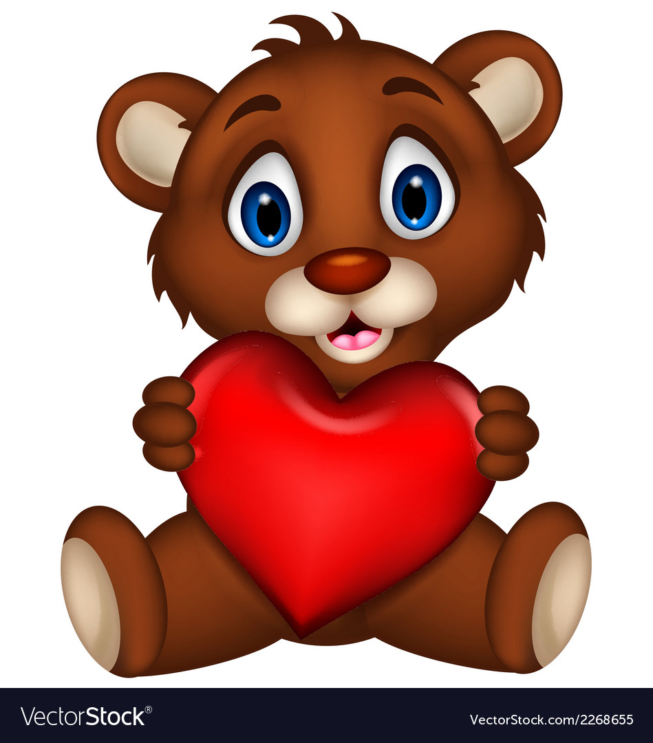Cute baby brown bear cartoon posing with heart lov vector | Price: 1 Credit (USD $1)