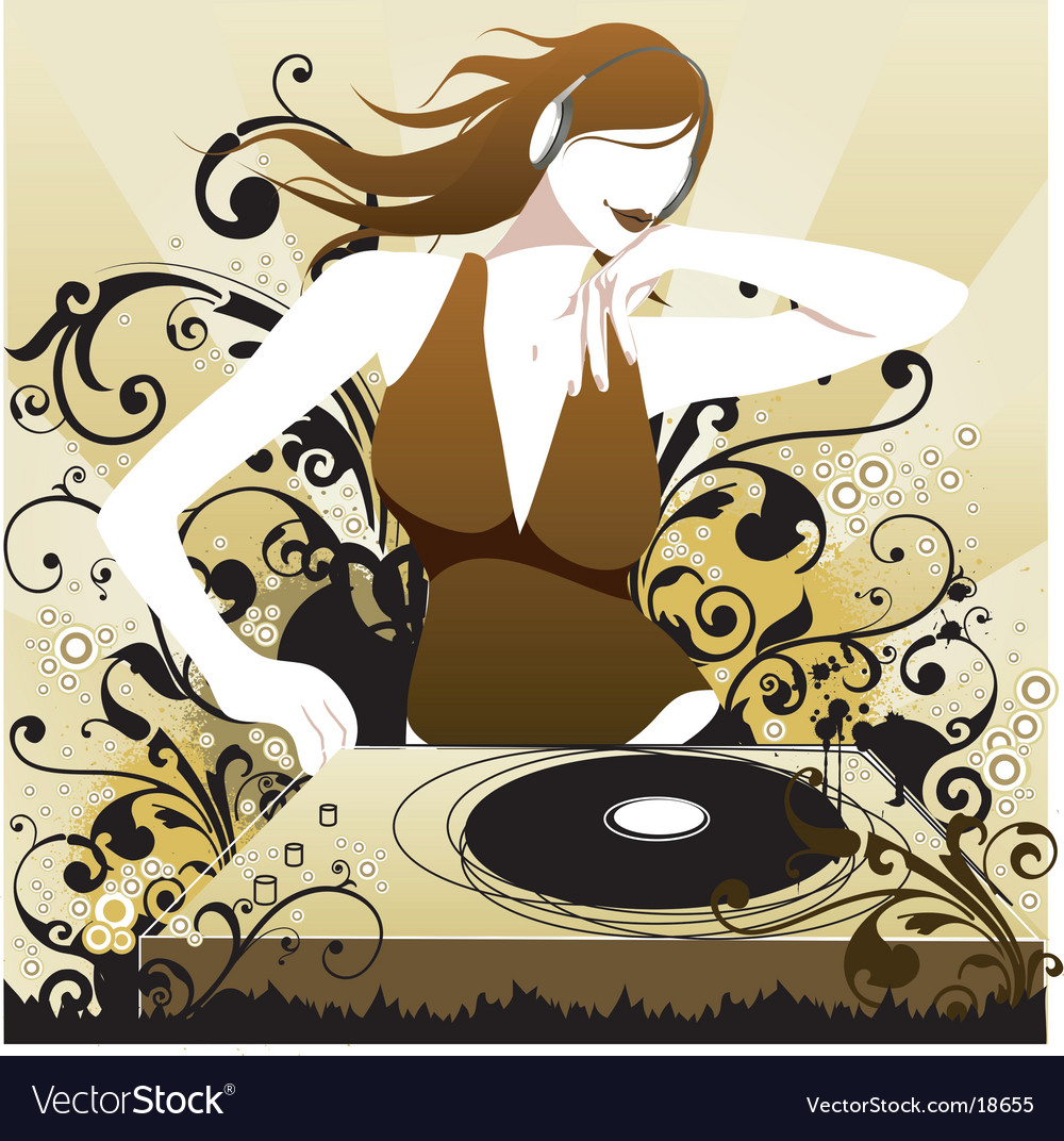 Dj babe in the mix vector | Price: 3 Credit (USD $3)