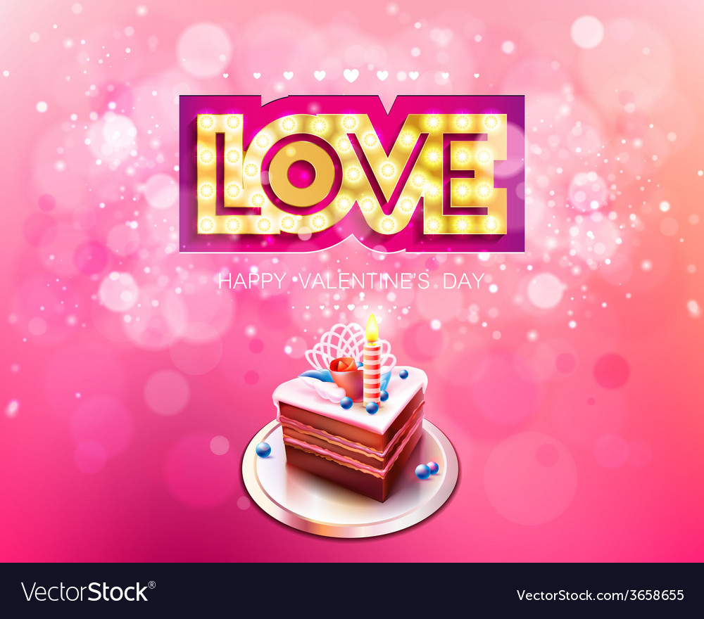 Gold inscription love with glowing lamps and cake vector | Price: 1 Credit (USD $1)
