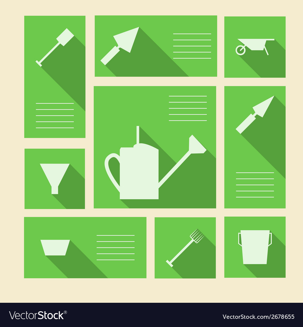 Green icons for gardening tools with place for vector | Price: 1 Credit (USD $1)