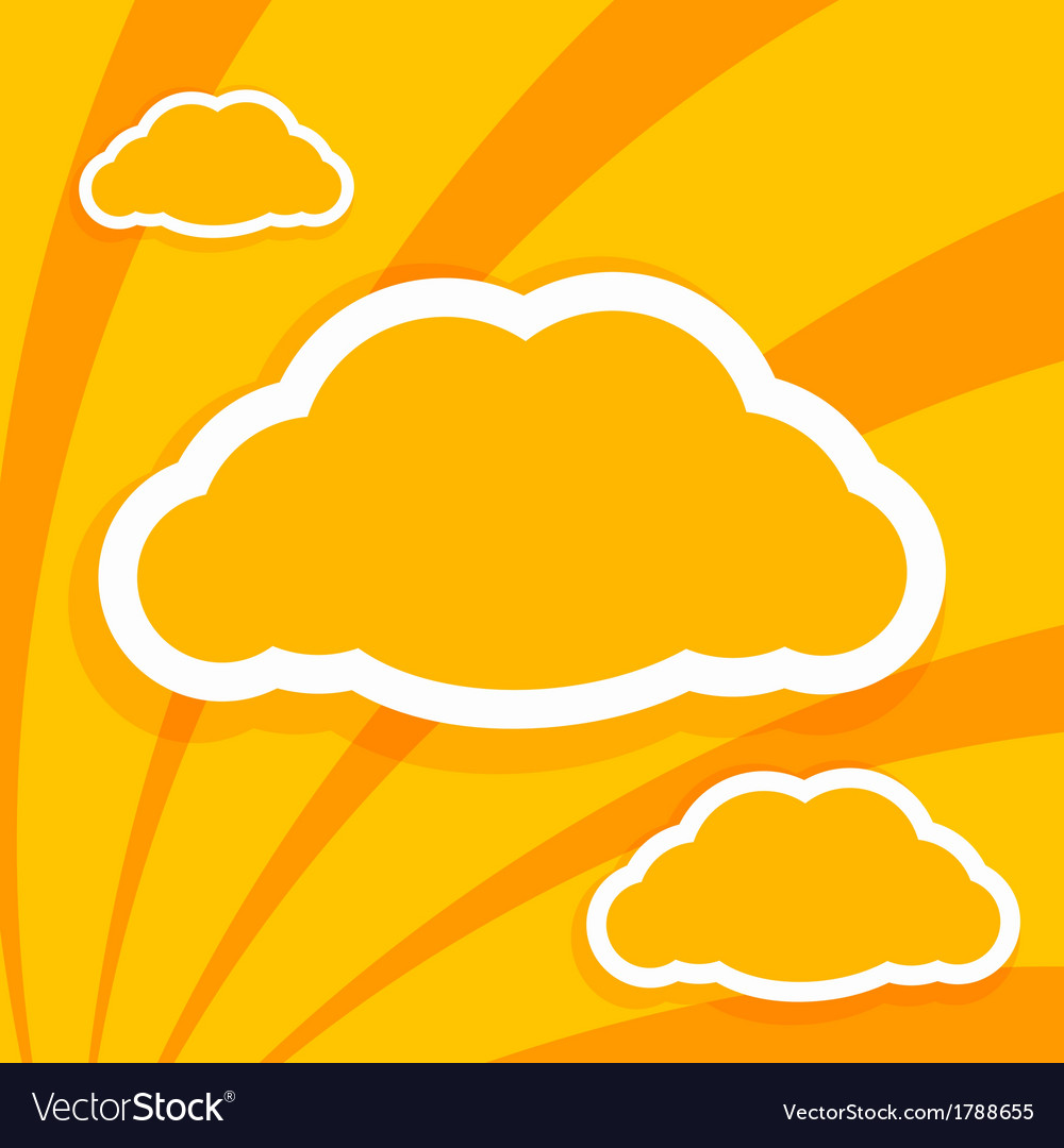 Orange paper on the background of clouds vector