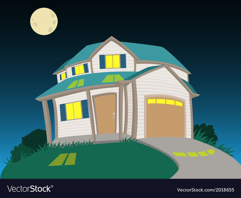 Sweet house at night vector | Price: 1 Credit (USD $1)