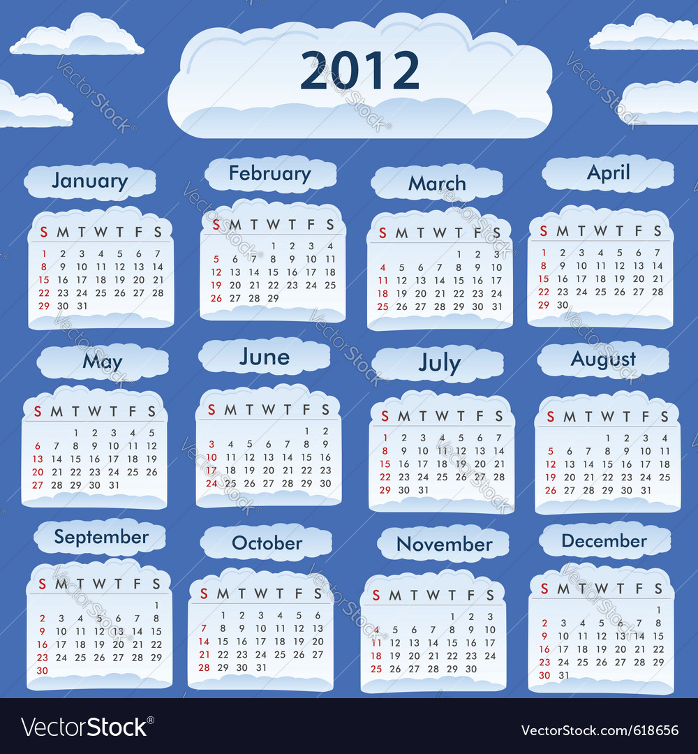 2012 calendar vector | Price: 1 Credit (USD $1)