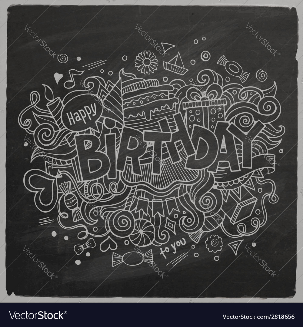 Birthday chalkboard background vector | Price: 1 Credit (USD $1)