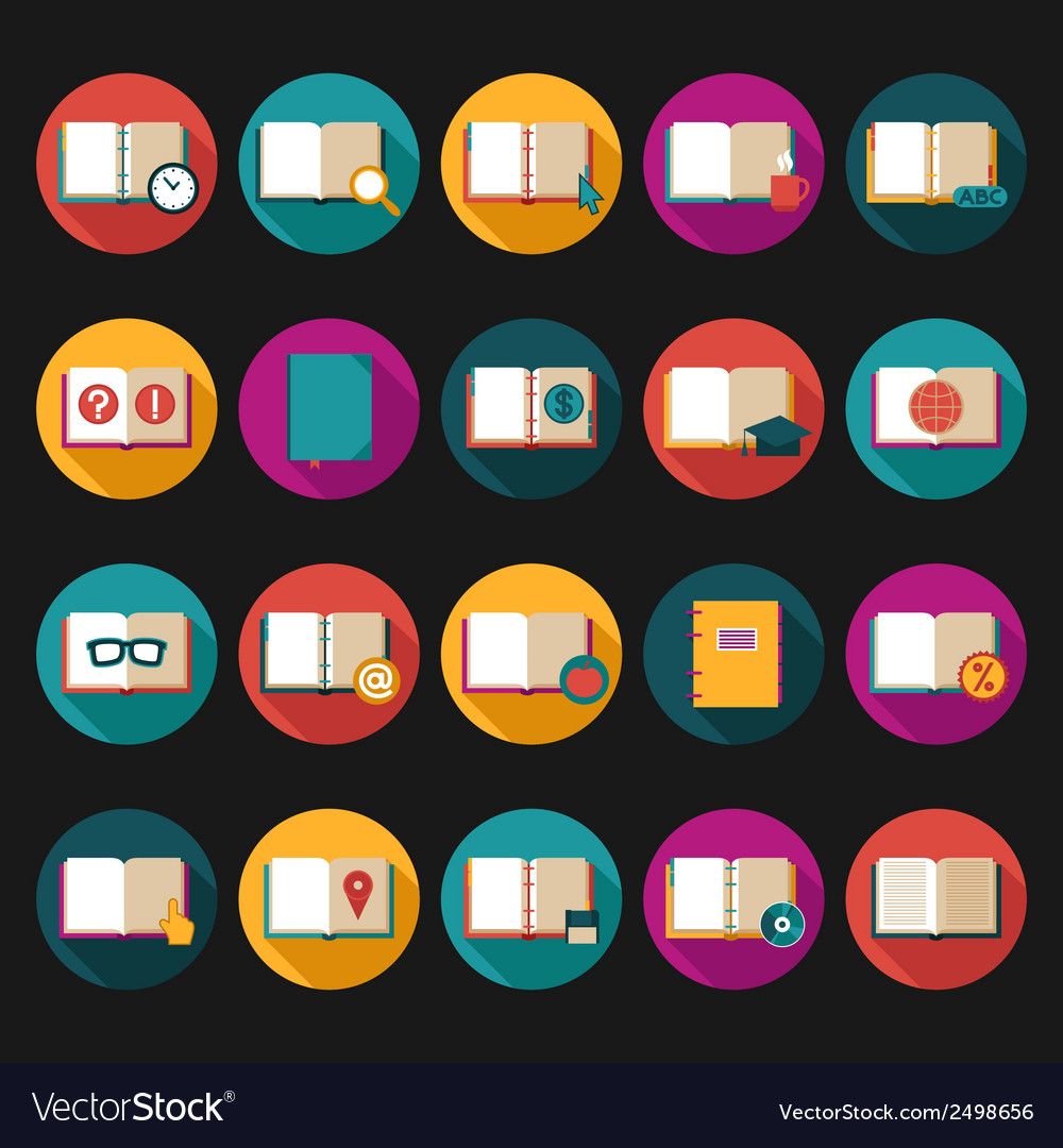 Books and symbols flat icons set vector | Price: 1 Credit (USD $1)