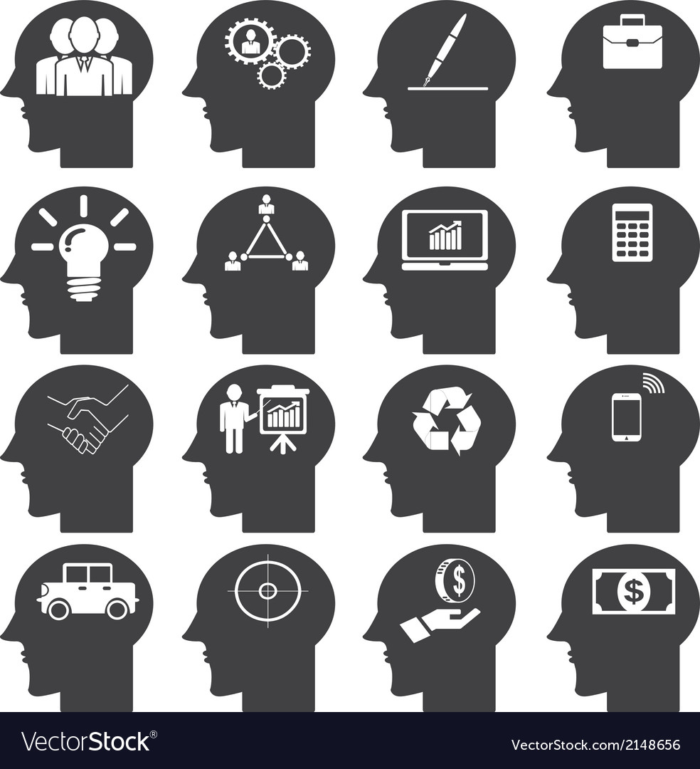 Business icons set in head vector | Price: 1 Credit (USD $1)
