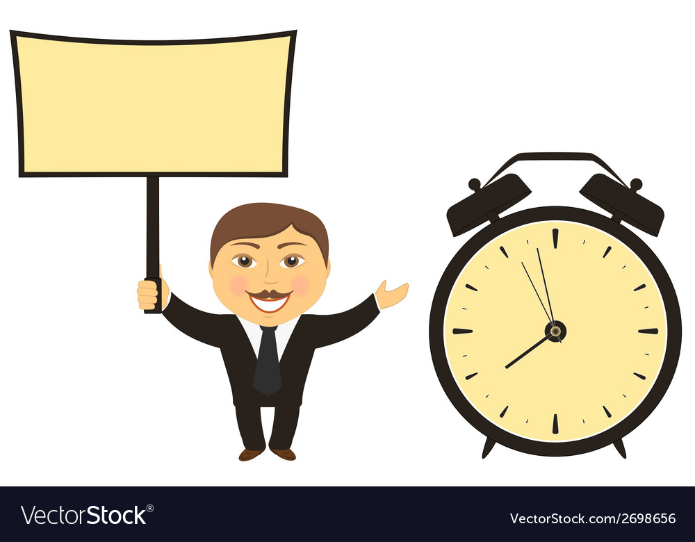 Businessman with board in hand clock vector | Price: 1 Credit (USD $1)