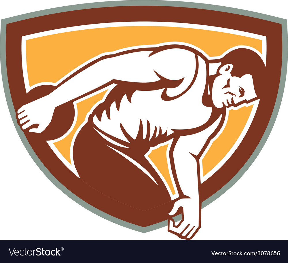 Discus thrower shield retro vector | Price: 1 Credit (USD $1)