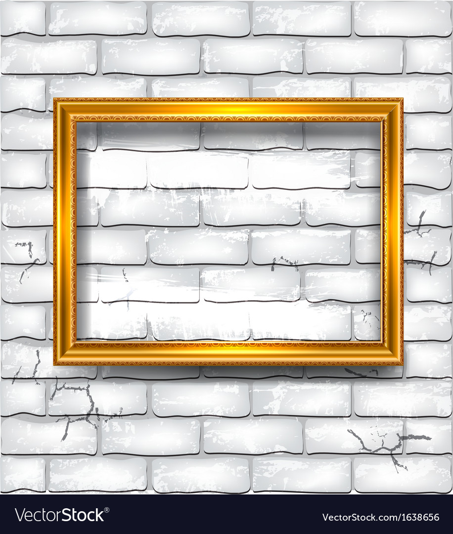 Frame on the white brick wall vector | Price: 1 Credit (USD $1)