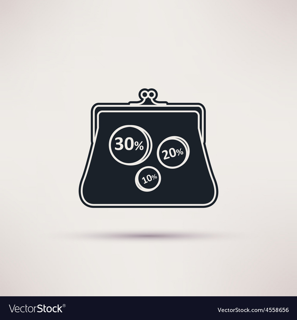 Icon purse isolated object vector | Price: 1 Credit (USD $1)