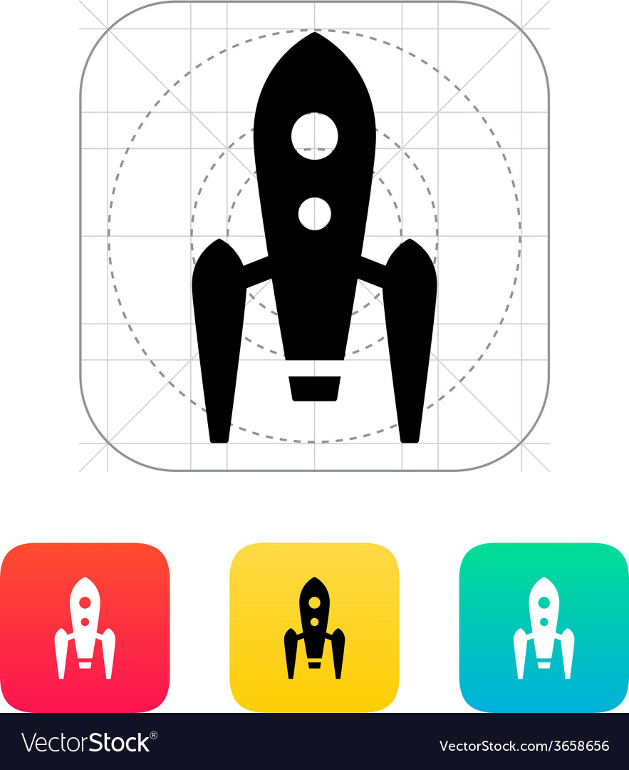 Long rocket icon on white background vector | Price: 1 Credit (USD $1)