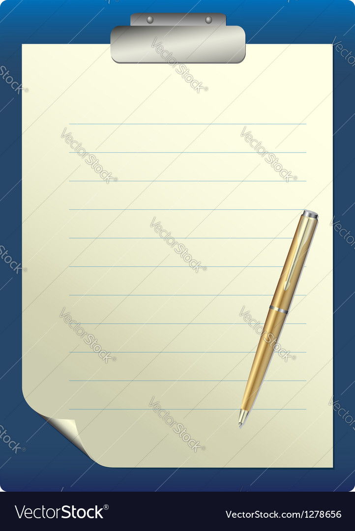 Pen on a white sheet of paper vector | Price: 1 Credit (USD $1)