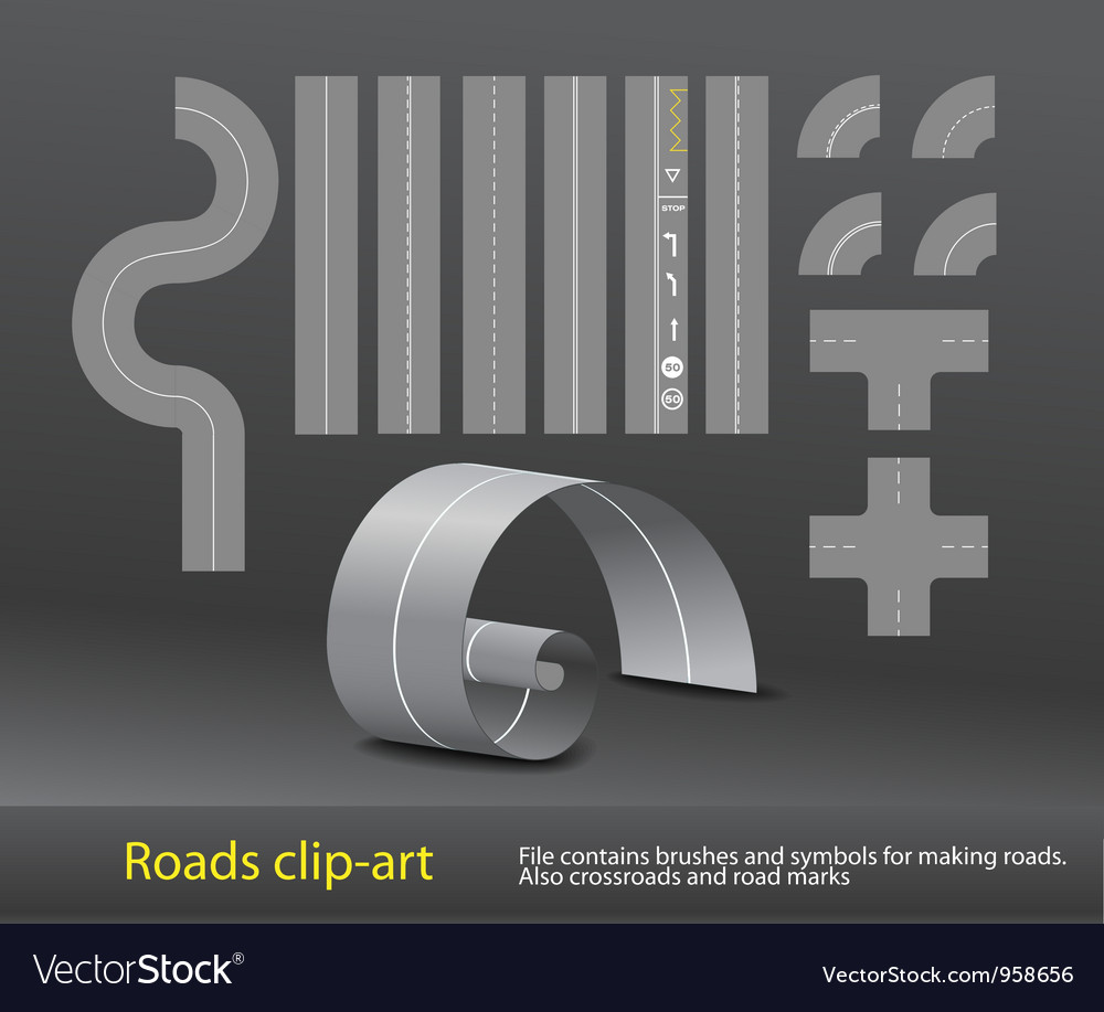 Road elements set vector | Price: 1 Credit (USD $1)