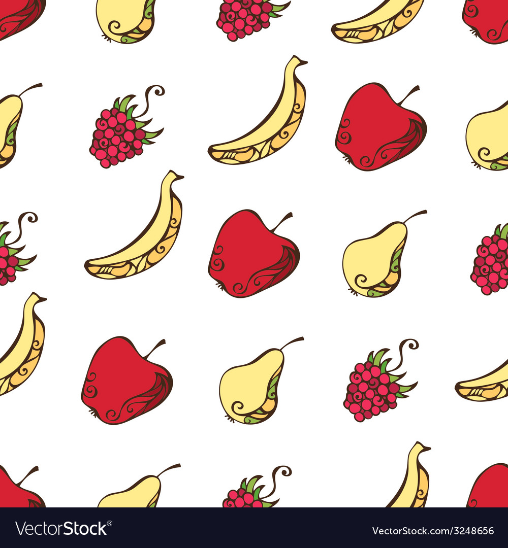 Seamless pattern of fruits and berries on white vector | Price: 1 Credit (USD $1)