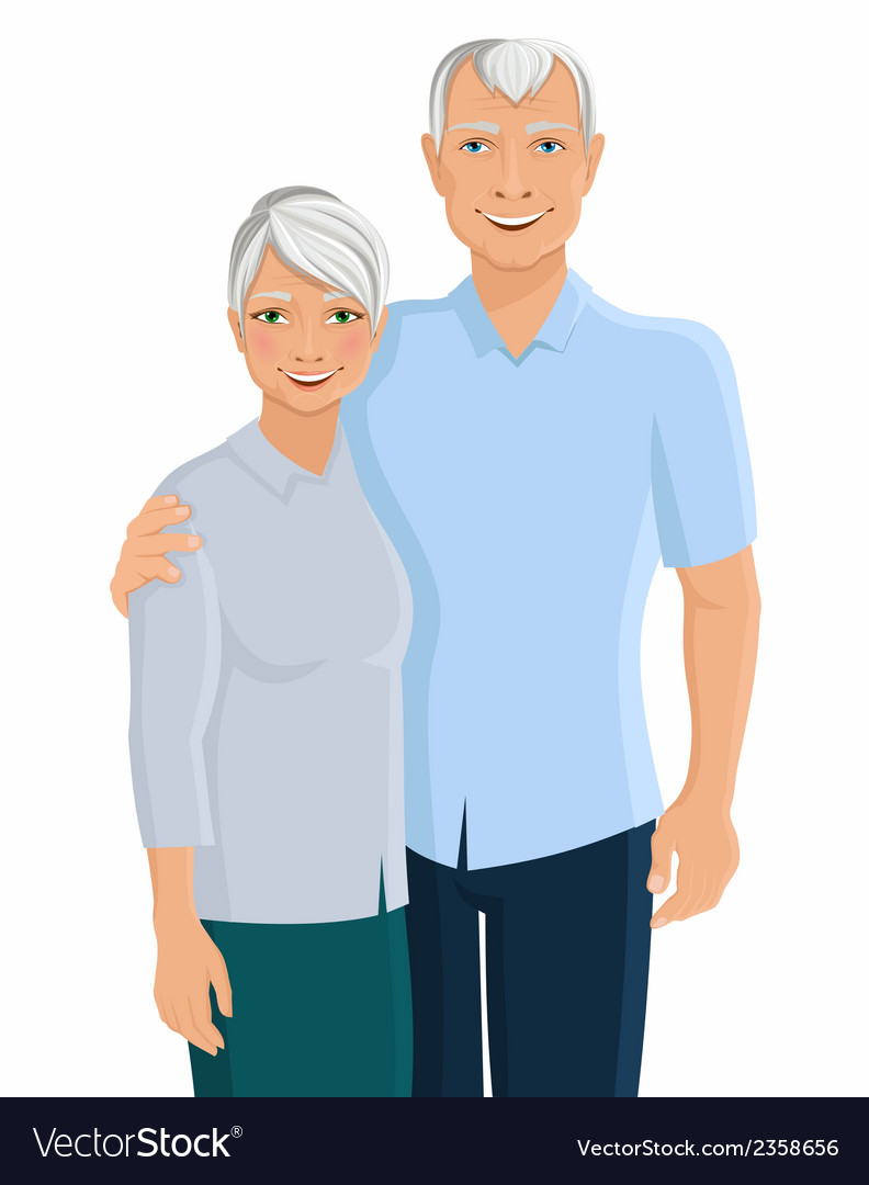 Senior couple portrait vector | Price: 1 Credit (USD $1)