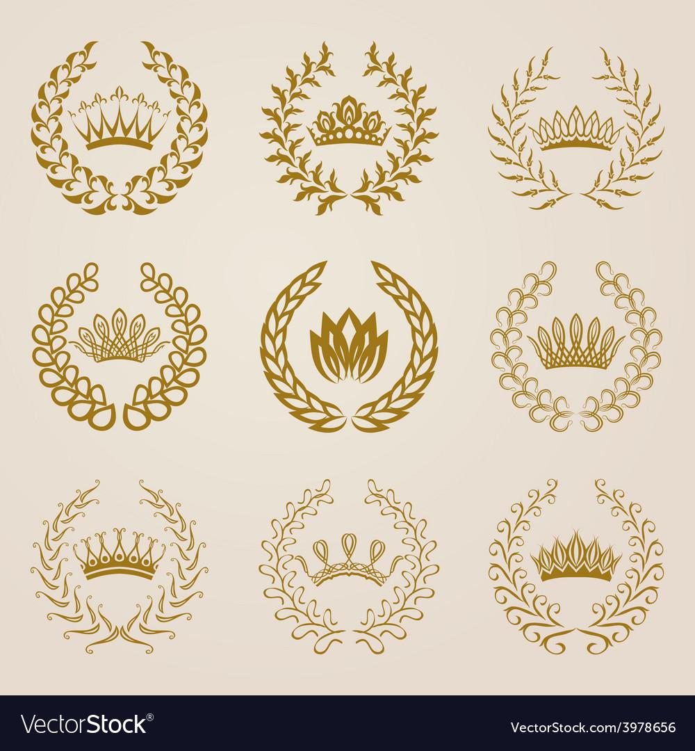 Set of gold laurel wreaths vector | Price: 1 Credit (USD $1)