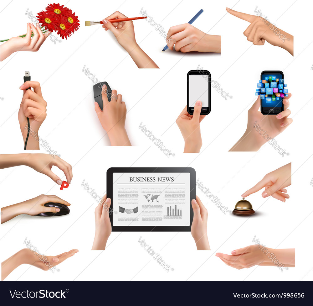 Set of hands holding different business objects vector | Price: 3 Credit (USD $3)