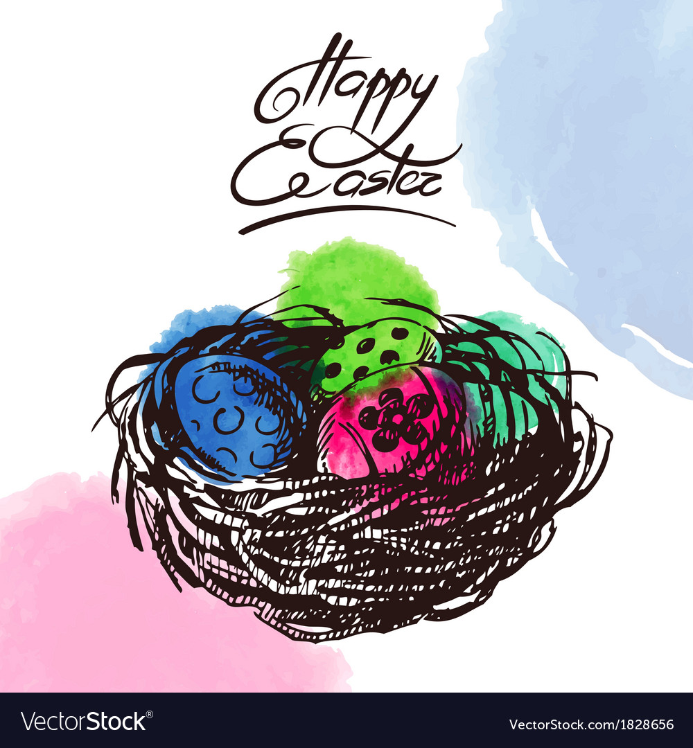 Vintage easter background hand drawn sketch vector | Price: 1 Credit (USD $1)