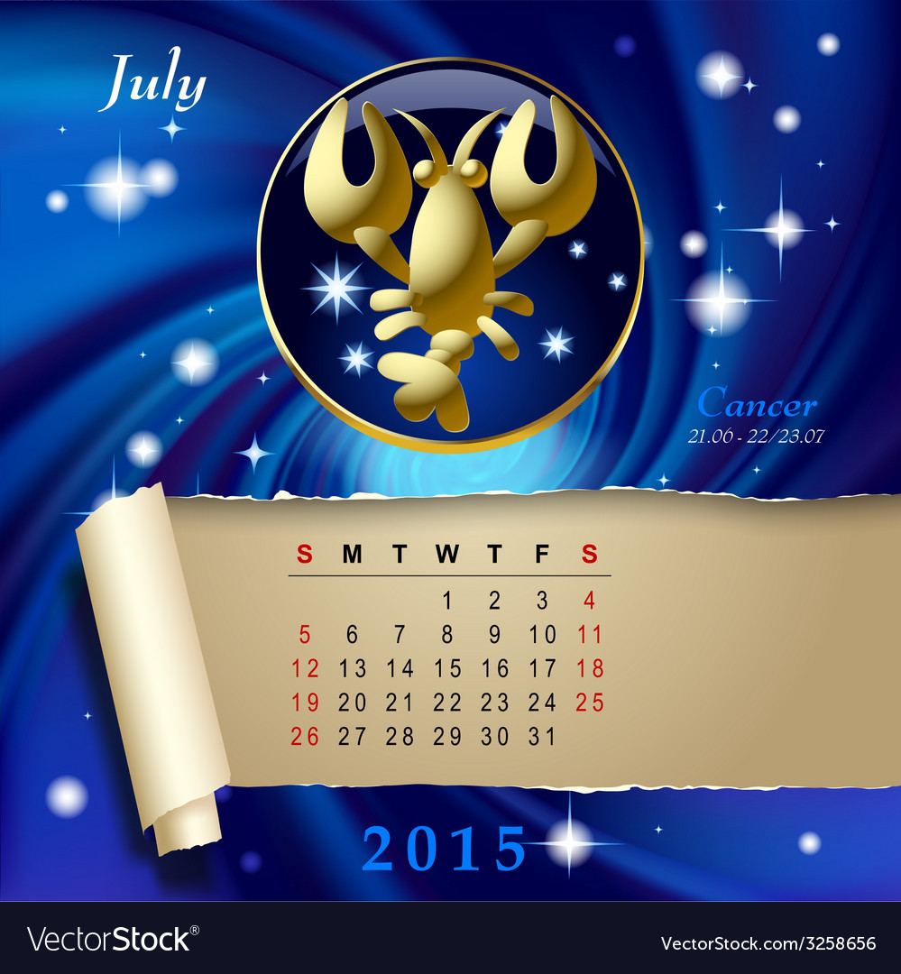 Zodiac calendar page vector | Price: 1 Credit (USD $1)