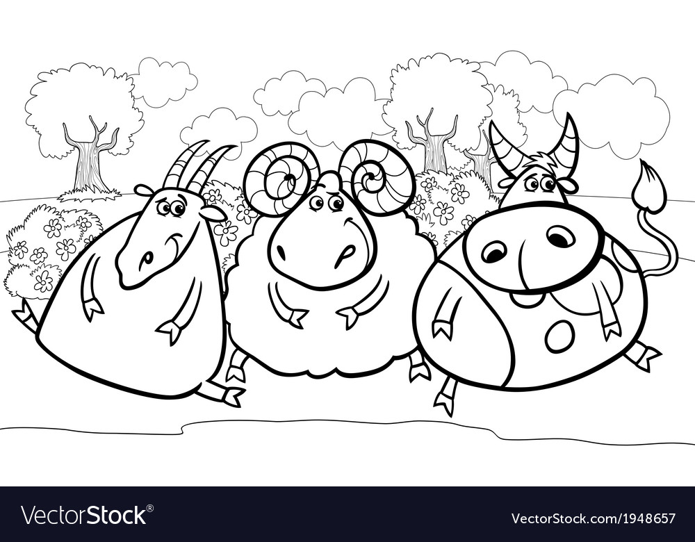 Farm animals cartoon coloring page vector | Price: 1 Credit (USD $1)