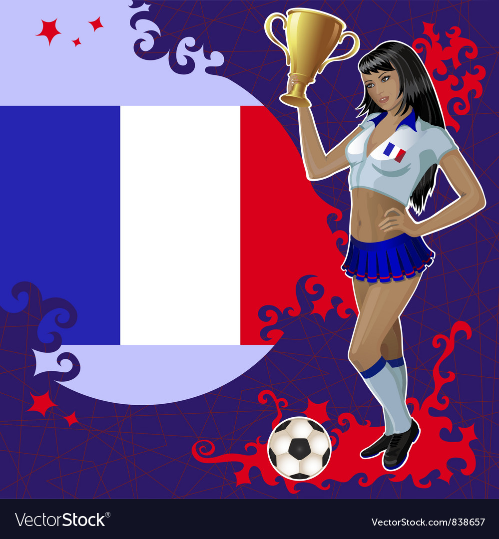 Football poster with girl and french flag vector | Price: 3 Credit (USD $3)