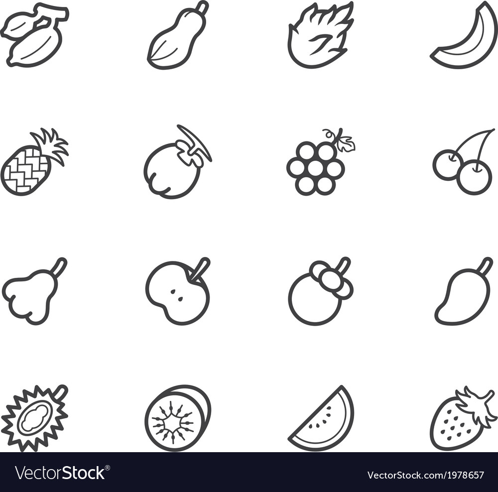 Fruit icon set on white background vector | Price: 1 Credit (USD $1)