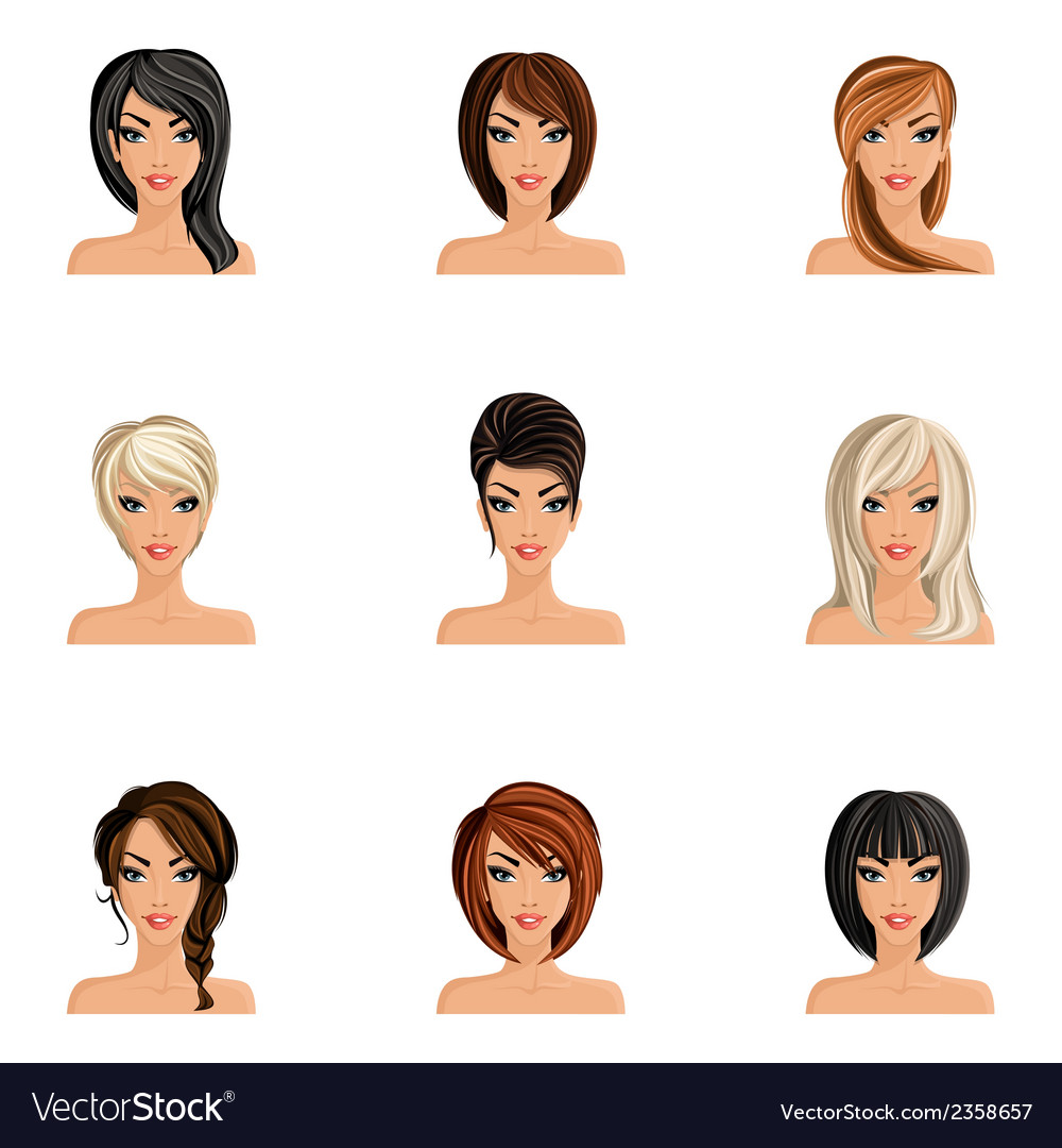Girl hair style set vector | Price: 1 Credit (USD $1)
