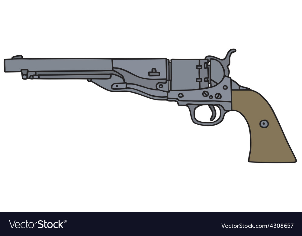 Old american handgun vector | Price: 1 Credit (USD $1)