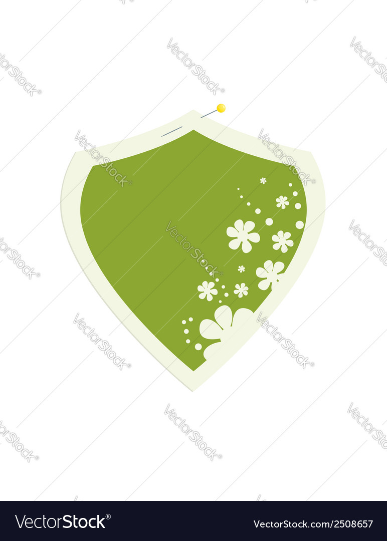 Shield flower frame with pin vector | Price: 1 Credit (USD $1)