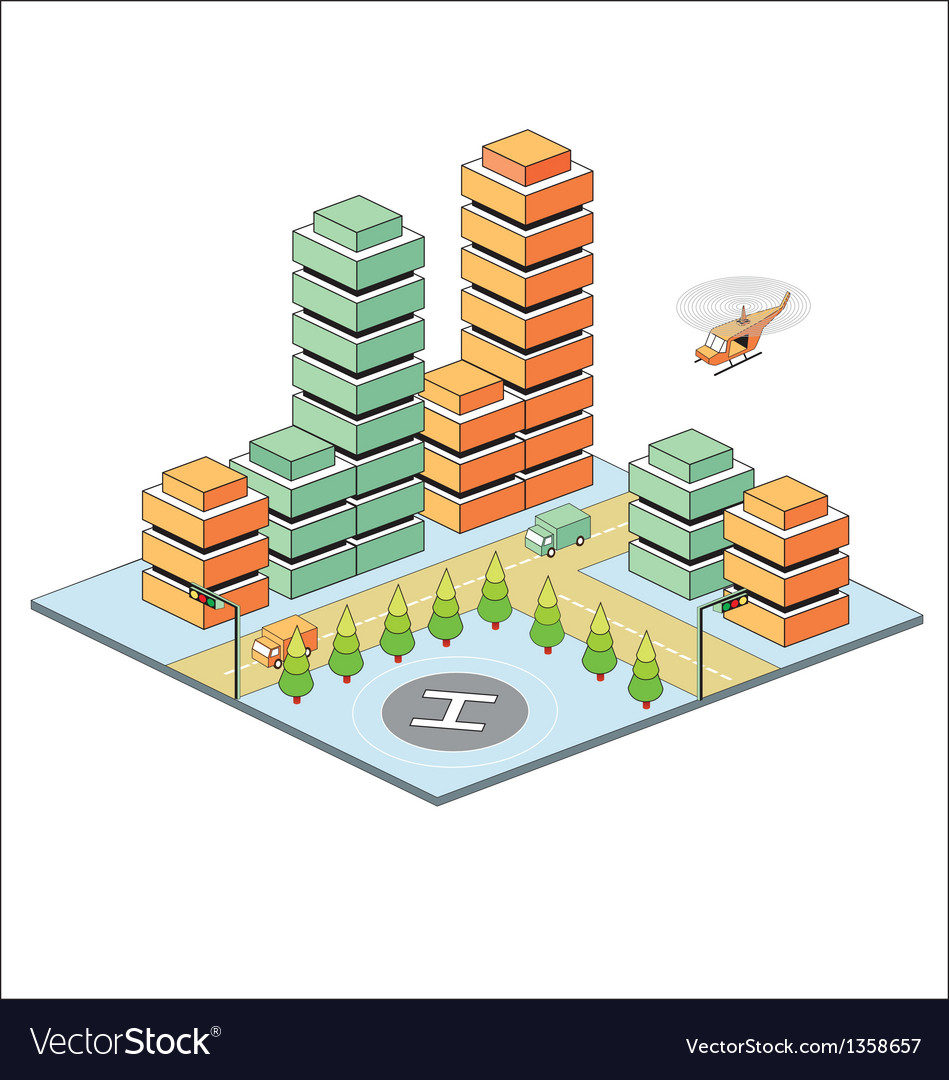 Town in isometric vector   Price: 1 Credit (USD $1)