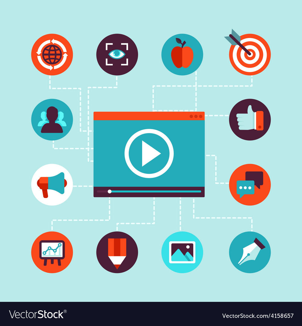 Video marketing concept in flat style vector | Price: 1 Credit (USD $1)